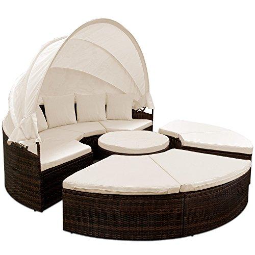 Deuba Tumbona Cama Isla 230cm con Techo Plegable Cojines Asientos sofá Doble Redonda XXL Poliratán jardín terraza Patio