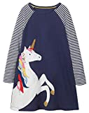 Fiream Girls Cotton Casual Longsleeve Stripe Applique Dresses(Navy,4T/4-5YRS)