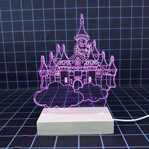 Air Castle 3D Veilleuses Usb Monochrome Lumière Veilleuses Étude de Chambre D'enfants Décor À La Maison Lampe De Chevet Violet Source De Lumière