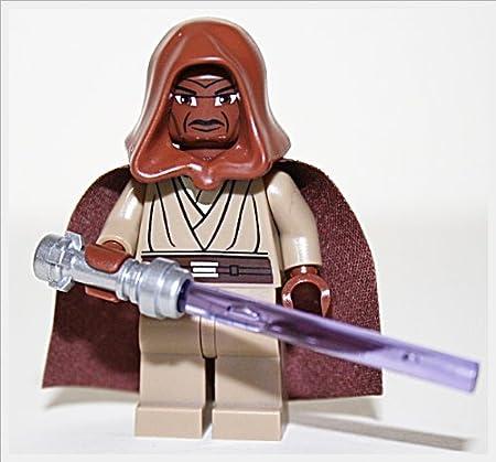 LEGO Star Wars Minifigur - JEDI Mace Windu + brauner Kappe + Umhang + lila Lichtschwert