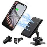 PROXA Magnetic Wireless Car Charger CC01 Mount with Dual Installation, QC 3.0 Fast Charging Adapter, Compatible with 7.5W for iPhone 11, 11 Pro, 11 Pro Max, XS Max, XS, XR, X, 10W for Galaxy S10 S9 S8