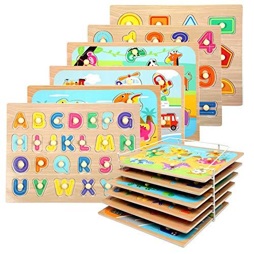 WOOD CITY Toddler Puzzles and Rack Set, Wooden Peg Puzzles Bundle with Storage Holder Rack, Educational Knob Puzzle for Kids Age 2 3 4 Years - Alphabet Number Shape Dinosaur Animal Vehicle