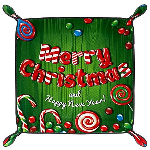 Bandeja de Servicio, Caja de Almacenamiento de Cuero de PU, Organizador de bandejas, Caja de Almacenamiento para Relojes Monedas de joyería Cartera de Llaves Feliz Navidad Feliz año Nuevo Lollipop