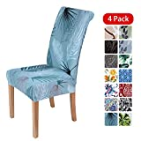 smiry Stretch Printed Dining Chair Covers, Spandex Removable Washable Dining Chair Protector Slipcovers for Home, Kitchen, Party, Restaurant - Set of 4, Blue