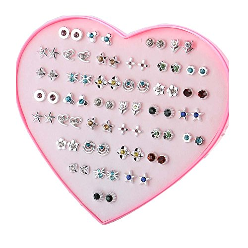 36 Pairs of Hypoallergenic Stud Earrings Set Party Favor for Women Girls Kids Christmas Gift, E-13