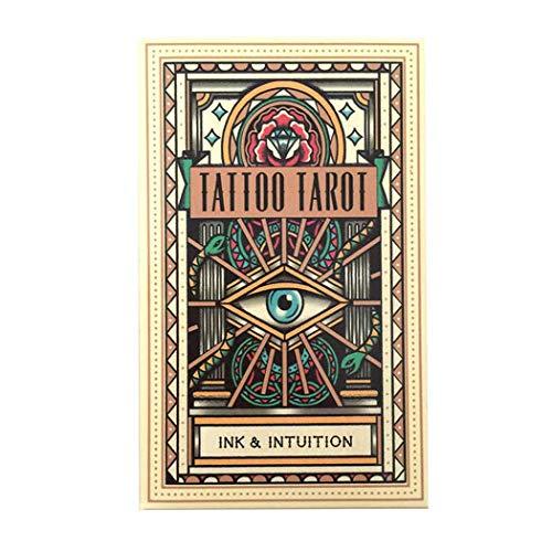 M STAR Tinten-Intuition Tattoo-Tarotkarten, Tarot-Deck-78-PCs für Indoor-Tischkarten-Spiele, Brettspielkarten geeignet für Partys und Festivals