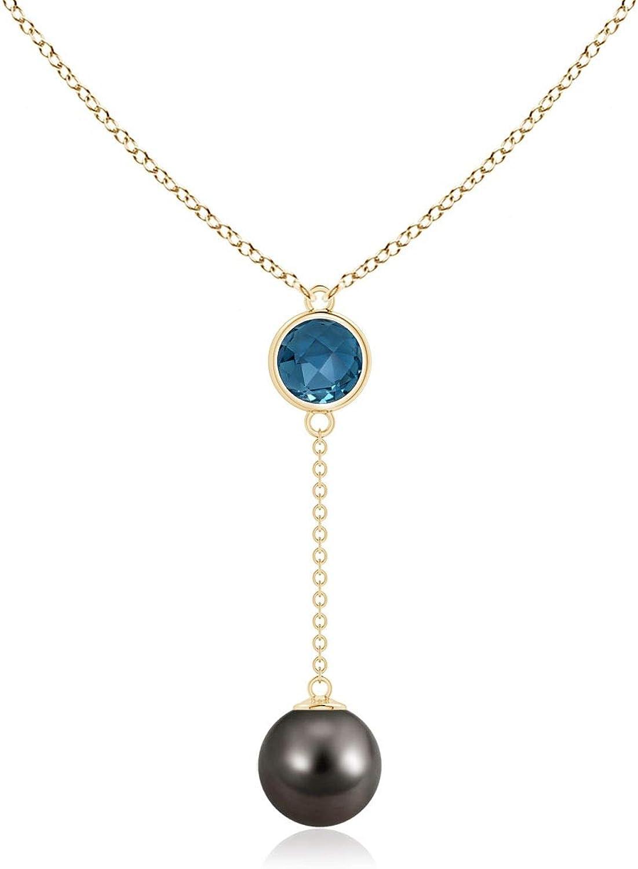 Tahitian Cultured Pearl & London Blue Topaz Lariat Necklace (8mm Tahitian Cultured Pearl)