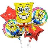 Baby Shower Decoraciones Niños - Miotlsy 5 Piezas Bob Esponja Globos Decoració Globos de Papel de Aluminio para Bob Esponja Fiestas Cumpleaños