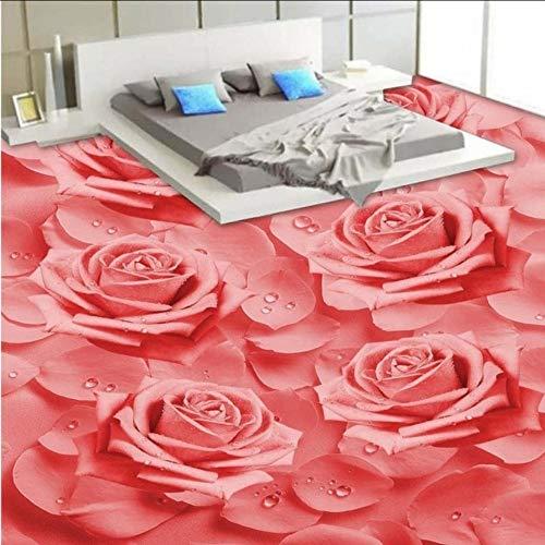 Wuyii Gratis verzending Custom Hd Warm Rozen 3D Stereo vloerbedekking badkamer slaapkamer zelfklevend behang hotel vloer muurschildering 400 x 280 cm.