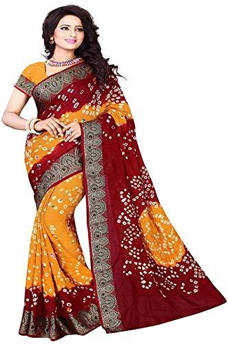 Flosive Bandhani Mysore Silk Saree With Blouse Piece (NK-Maroon bandhni AB)