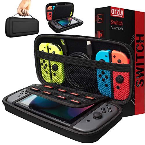 Orzly Tragetasche kompatibel mit Nintendo Switch – Aufbewahrungstasche / - Hartschalen Case/Cover/Hülle/Schutzhülle für die Verwendung mit der Nintendo Switch Konsole & Accesoires in SCHWARZ