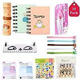 Amycute - Set de 31 piezas de papelería Kawaii, bolígrafo de color, cuaderno, regla, pegatinas de unicornio, pinza para fotos, set de regalo infantil con material escolar, color Stile 1
