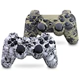Vinklan PS3 Controller Wireless Double Shock Gamepad for Playstation 3, Six-Axis Wireless PS3 Controller with Charging Cable (Ghost White & Camouflage Gray)