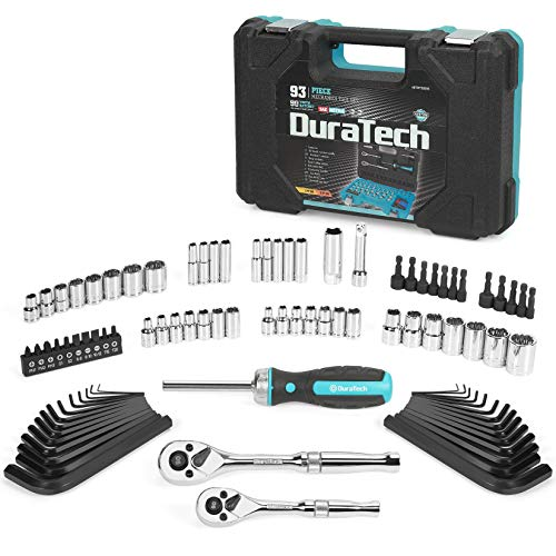 DURATECH 93 Piece Mechanics Tool Set, SAE/ Metric Drive Socket Set(1/4 Inch and 3/8 Inch) with Ratchet handle Spark Plug Magnetic bit driver and Tool Accessories Set