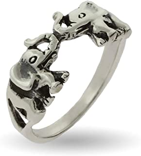 Eve's Addiction Sterling Silver Double Elephant Ring, Sizes 5 to 9