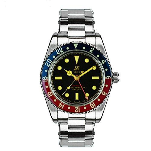 San Martin Cola-GMT - Reloj de Buceo automático para Hombre, Cristal Zafiro Luminoso, 20 ATM, Resistente al Agua