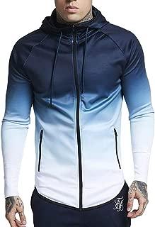 Zackate Mens Gradient Hoodies Pullover Outwear Casual Sporty Hooded Sweatshirt Tops Blouse Sweater Jacket Coat