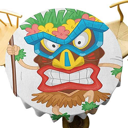 VICWOWONE Tiki - Mantel redondo de 55 pulgadas con funcin de mantel de hombre nativo con una mscara de ilustracin de dibujos animados tribal disfraz primitivo ritual plegable multicolor