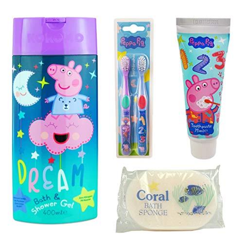 Pepper Pig Kids Bathroom Wash Set - Toothbrushes, Toothpaste, Bath & Shower Gel and Bath Sponge