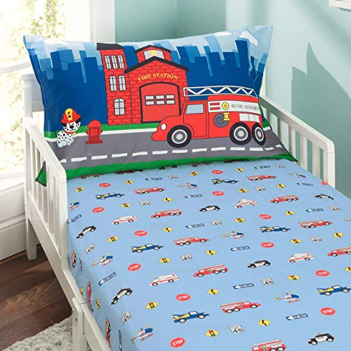 Everyday Kids Toddler Fitted Sheet and Pillowcase Set -Fire Police Rescue- Soft Breathable Microfiber Toddler Sheet Set