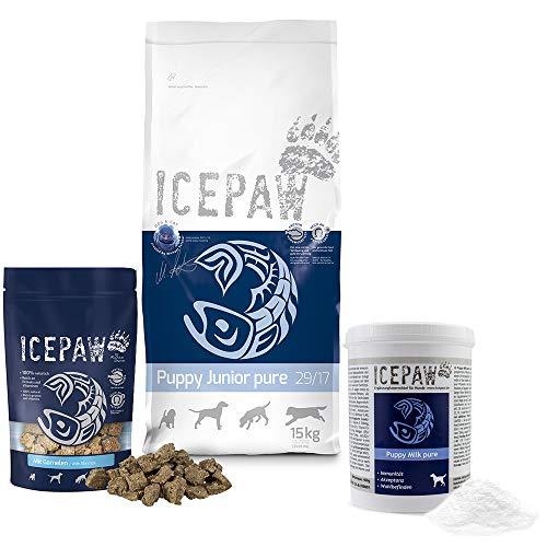ICEPAW I Kombipaket für Welpen I High Premium Trockenfutter Puppy Junior Pure I 15 kg I Mit Fisch (Hering) I Puppymilk 400 g I Snack Mit Garnelen 150 g