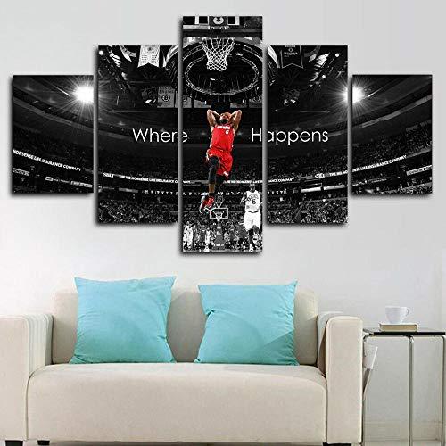 runtooer Bilder Dekorative malerei Spray malerei leinwand malerei 5 stück Lebron James Basketball Leinwand Wandbild, Möbel Art Deco, Rahmen