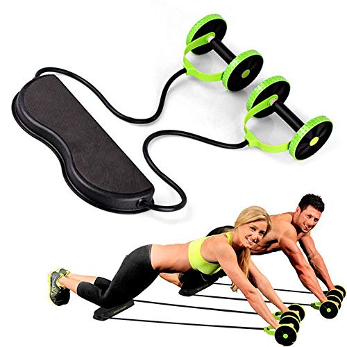 LHZHG Sport Core Double ab Roller Bauchtrainer mit Widerstand Band Pull Seil Fitness Taille Trimmer Home Studio Equipment (Farbe : Grün)