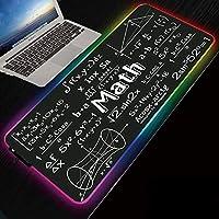 ゲーミングマウスパッド数学計算式XXLRGBゲーミングマウスマットパッドXXXL拡張大型LEDマウスパッド14マルチカラーおよびエフェクトモード滑り止めラバーベースコンピューターキーボードPC用マウスマットRGB_800x300mm
