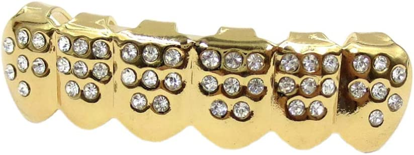 EXCEART 18K Gold Plated Grillz Shiny Hip Hop Teeth Grillz for Mouth Bottom (Gloden)