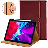 DTTO New iPad Pro 11 Case 2nd Generation 2020&2018, Premium PU Leather Business Folio Stand Cover [Apple Pencil Pair and Charge Supported] - Auto Wake/Sleep and Multiple Viewing Angles, Burgundy Red