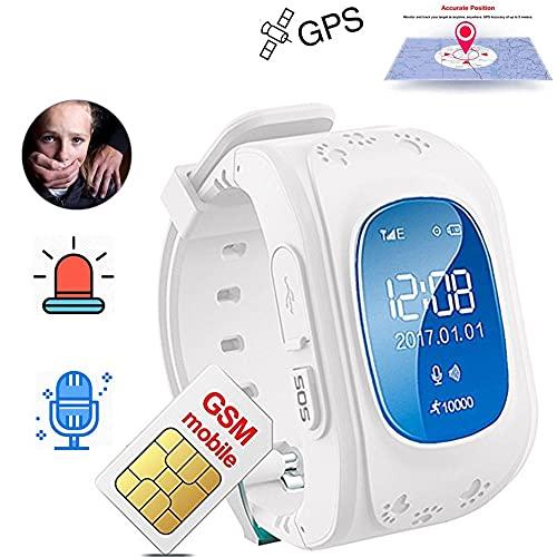 Reloj De Pulsera Inteligente Con Rastreador De Niños Con GPS, Reloj Inteligente A Prueba De Agua Para Niños Para Niños Con Botón SOS Localizador De Reloj Con GPS Q50 Para Ios Y Android,Blanco