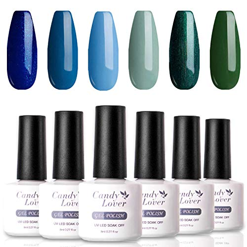 Popular Gel Nail Polish Set - Candy Lover Selected 6 Pastel Shimmering Colors Blue Green Summer Fall Kit, Soak Off Nail Art Manicure Gift Box