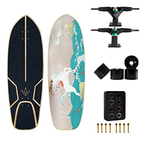 JSJJAES Skateboard 3.0 Professionelle Land Carver Surfbrett Bambus Fiberglas Anti-Scratch-Lenkhalterung Surfen Longboard (Color : Light Yellow)