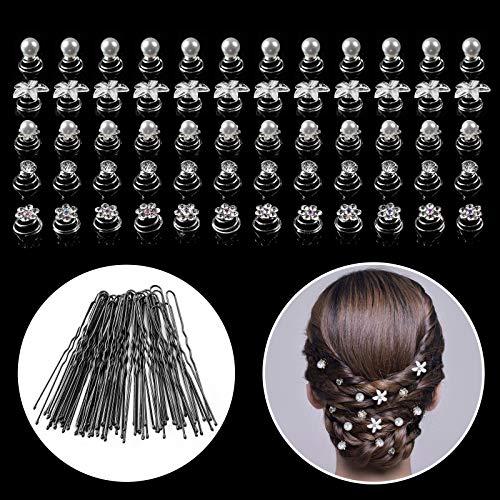 Horquillas para el Pelo, GuKKK 60 Pcs Horquilla Espiral de Perla y 40 Pcs Clips de Pelo Horquillas de Pelo en U, Flores y Perlas de Diamantes Horquillas, Accesorios para el Pelo de Bodas Nupcial