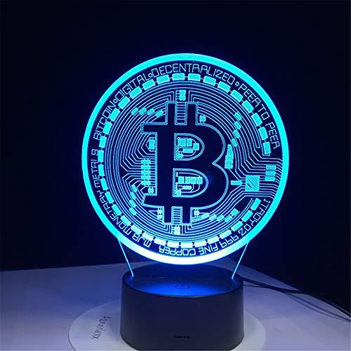 Led Lampe 3D Bitcoin Signe Modélisation Veilleuses 7 Couleurs Usb Pièce De Bureau Lampe Bébé Chambre À Coucher Éclairage Accessoire Décoration Cadeaux Pour Enfants