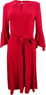 RALPH LAUREN Womens Red Bell Sleeve Keyhole Below The Knee A-Line Party Dress US Size: 6