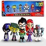 Juego de 6 piezas de juguete figura de Teen Titans Go figura de acción Robin Raven Beast Boy Starfire Mini figura Juguetes de PVC Modelo Niños Juguete de Cumpleaños con Caja Deluxe Mini Figuras