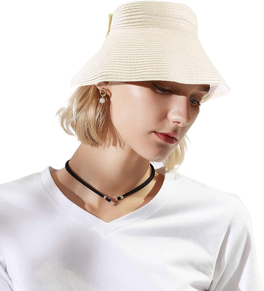 Damen Sommerhut mit breiter Krempe zum Aufrollen faltbarer Strohhut mit Schleife