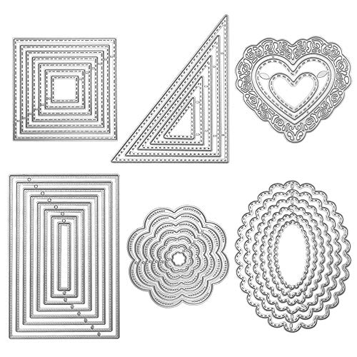 Die Cuts Cutting Dies Metal Square Rectangle Oval Flower Heart Triangle Embossing Stencils Template Mould for Card Scrapbooking and DIY Crafts 6 Set 36 PCS