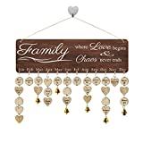 FamGiftGifts for Moms Dads - Wooden Family Birthday Reminder Calendar Board [100 Wood Tags with Holes/Family...