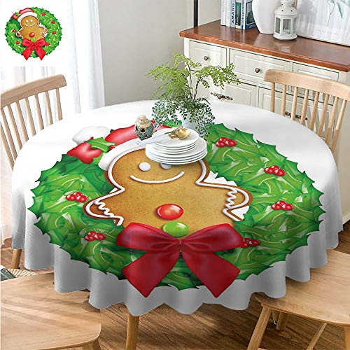 DILITECK Christmas Tablecloth Thanksgiving Tablecloth Outdoor Round Tablecloth Gingerbread Man Cartoon Christmas Wreath with Gingerbread Man Funny Happy Season Daily use Green Red Light Brown D50