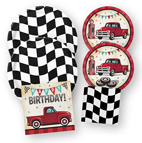 Red Truck Racing Birthday Party Supplies, Paper Plates Napkins Set, 64 Pieces