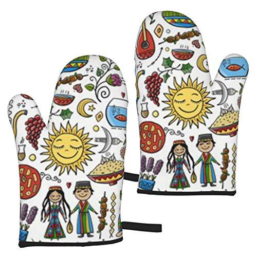BONRI Nowruz - Guantes de microondas con símbolos de Primavera y Llegada de Vacaciones, un Juego de 2 Manoplas para Horno, Resistentes al Calor, Ideales para Hornear, Asar a la Parrilla, Barba