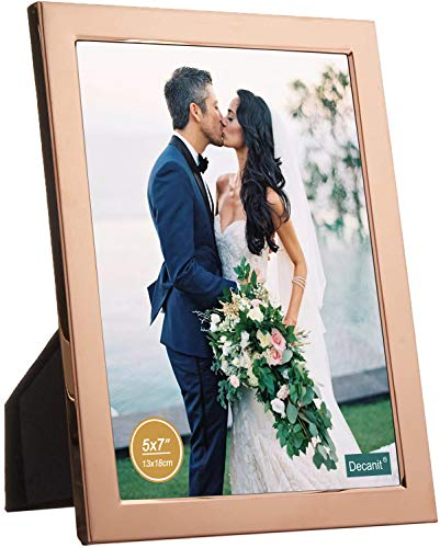 decanit 5x7 Picture Frames Rose Gold Metal Photo Frames for Tabletop Display and Wall Decoration-Best Gifts for Family