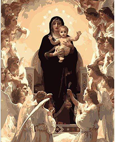 Arte abstracto Pintura por números Virgen María Figura Arte moderno de la pared Lienzo Navidad Regalo único Decoración del hogar 40x50cm Sin marco