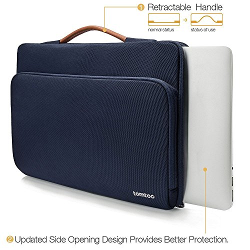 tomtoc Laptop Aktentasche Hülle kompatibel mit 12,3 Zoll Surface Pro, Neu MacBook Air 13 Zoll Retina A1932, Neu MacBook Pro 13 Zoll A2159 A1989 A1706 A1708, Dell XPS 13 Tasche Tragetasche Dunkel Blau - 6