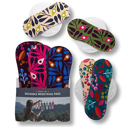 Compresas de tela reutilizables, pack de 7 compresas ecologicas de algodón orgánico con alas; HECHAS EN LA UE, para menstruación, postparto, incontinencia; compresas lavables organico para mujer
