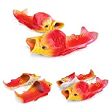 6 Colours Fish Slippers Beach Shoes Non-Slip Sandals Creative Fish Slippers Men and Women Casual Shoe (Yellow + red, 13-14 Women/11.5-12.5 Men)