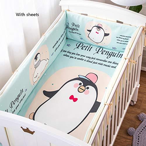 Gepolsterte Baby-Schutzabdeckung für Babybettchen, schützt vor Zahnen, für lange vordere Gitterbetten, Baumwolle, atmungsaktiv, mit blauem Pinguin