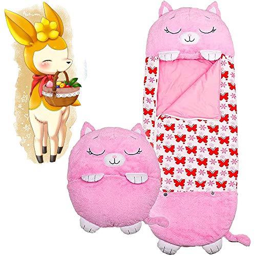 Kinderschlafsack Samt warm Pink Kitten Tier Cartoon Schlafsack, Interessantes Kissen Schlafsack Kick-Proof Quilt,Zwei-in-Eins-Kissen verwandelt Sich in Schlafsack, geeignet für 3-6 Jahre137 * 50cm